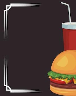 Hamburger et tasse de boisson gazeuse