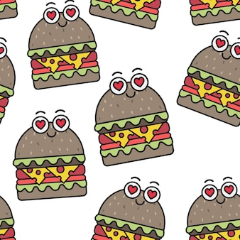 Hamburgers émotionnels de vecteur modèle sans couture