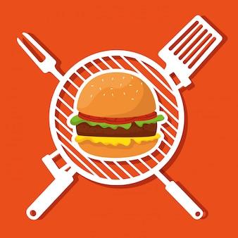 Hamburguer avec grill et ustensiles de barbecue