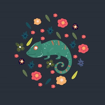 Haméléons et fleurs