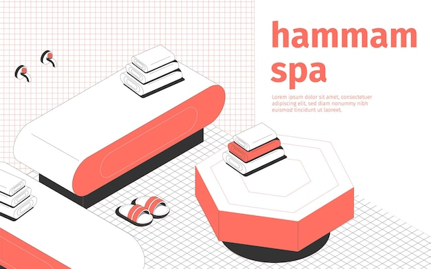 Hammam spa et salle de massage chaussons et serviettes intérieurs composition isométrique 3d