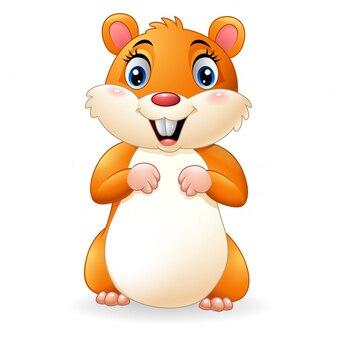 Hamster dessin animé souriant
