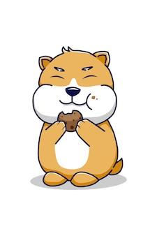 Hamster mangeant une illustration de dessin animé de biscuit