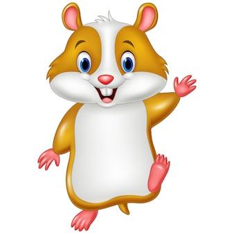 Hamster mignon agitant la main