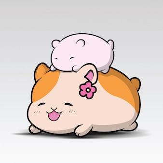 Hamster mignon assis et souriant