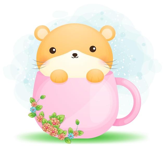 Hamster mignon doodle dans un personnage de dessin animé de tasse