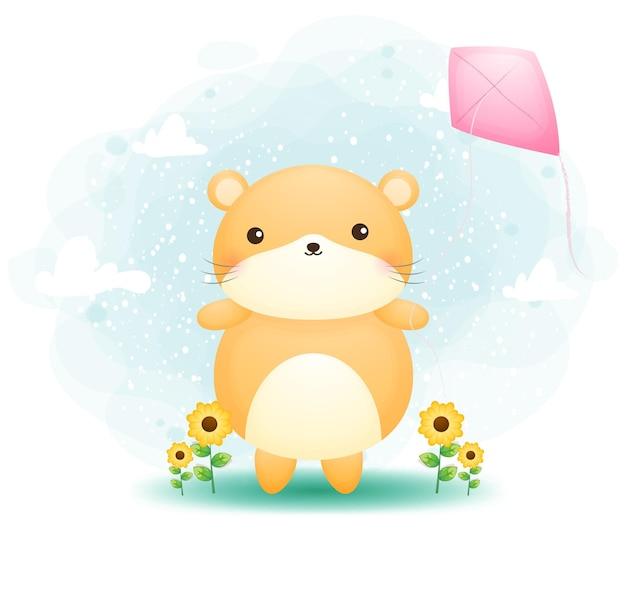 Hamster mignon doodle jouant des cerfs-volants sur le personnage de dessin animé de l'herbe