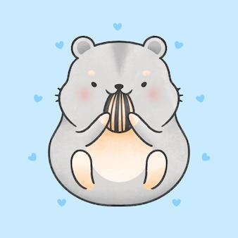 Hamster mignon mangeant style de dessin animé de graine de tournesol