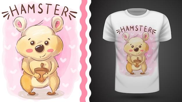 Hamster with nut - idée pour t-shirt imprimé