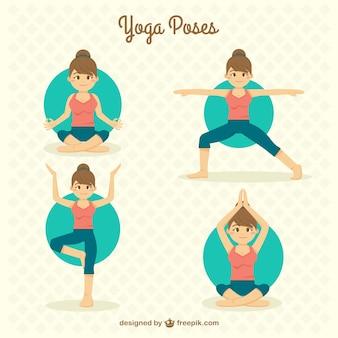 Han dessinée belle fille faisant des poses de yoga