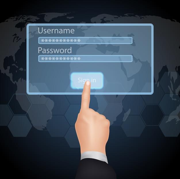 Hand choisissez entrer le mot de passe et le nom d'utilisateur sur l'écran virtuel