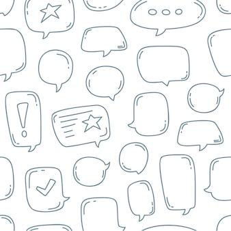 Hand draw doodle modèle sans couture de bulles de discours.