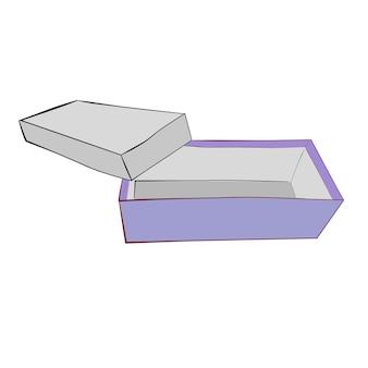 Hand draw sketch vector template ou maquette boîte à chaussures violette, isolé sur blanc