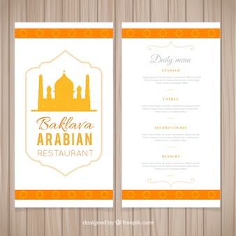 Hand drawn arabian menu restaurant en couleur jaune