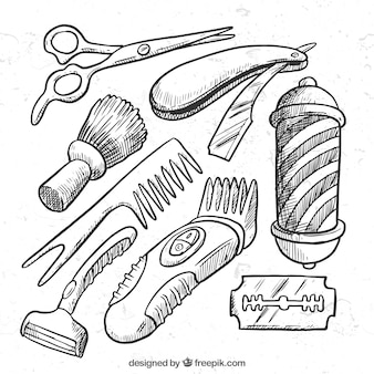 Hand drawn baber boutique elements