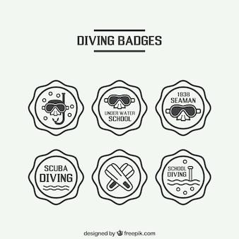 Hand drawn badges décoratifs de plongée