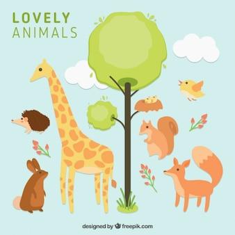 Hand drawn beaux animaux avec un arbre