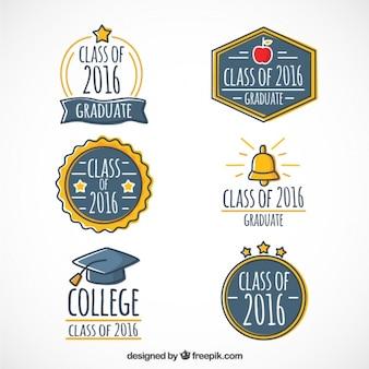 Hand drawn beaux logos graduation