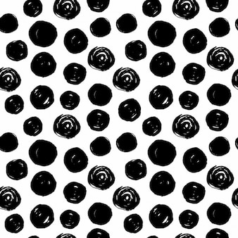 Hand drawn cercles noirs seamless sur fond blanc