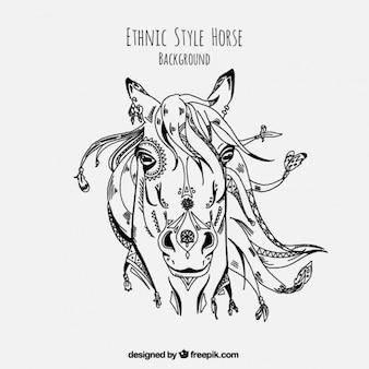 Hand drawn cheval illustration ethnique