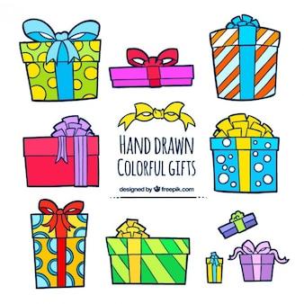 Hand drawn collection de cadeaux colorés