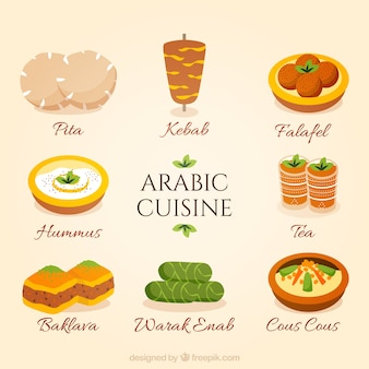 Hand drawn collection de cuisine arabe