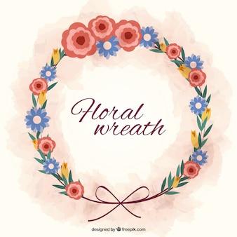 Hand drawn couronne de fleurs avec un arc
