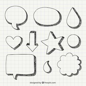Hand drawn discours et des formes de bulles