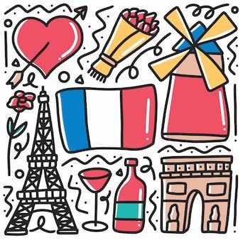 Hand drawn doodle vacances paris avec des icônes et des éléments de conception