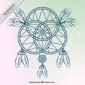 Hand drawn dream catcher sur un arrière-plan simple