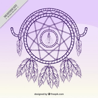 Hand drawn dream catcher sur un fond violet