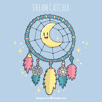 Hand drawn dreamcatcher fond avec une belle lune