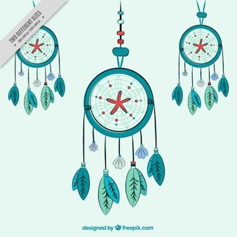 Hand drawn dreamcatchers vert fond