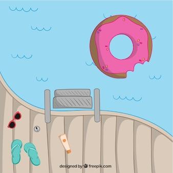 Hand drawn float agréable dans la piscine