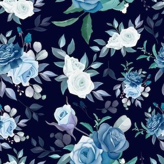 Hand drawn floral et laisse la conception de modèle sans couture