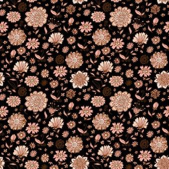 Hand drawn fond brun avec des fleurs vintages
