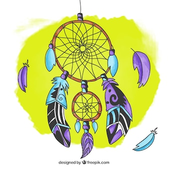 Hand drawn fond dreamcatcher couleur