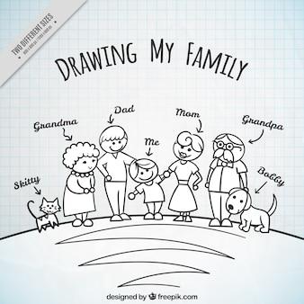 Hand drawn fond de famille avec des animaux domestiques
