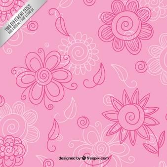Hand drawn fond floral dans les tons rose