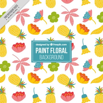 Hand drawn fond floral avec pinapples
