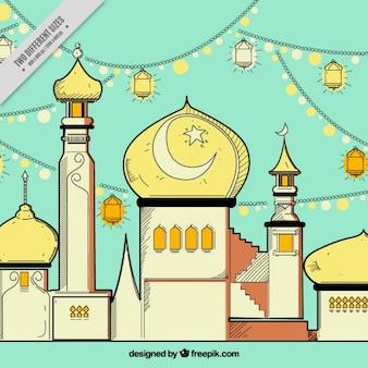 Hand drawn fond de la mosquée