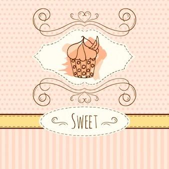 Hand drawn fond petit gâteau doux