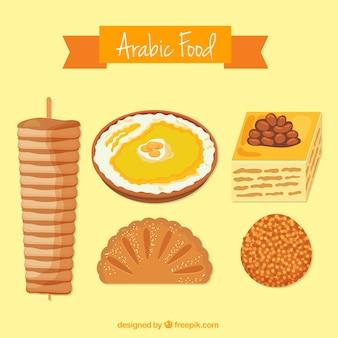 Hand drawn gastronomie arabe avec cinq menus