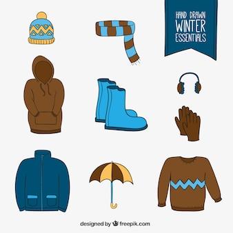 Hand drawn hiver vêtements set