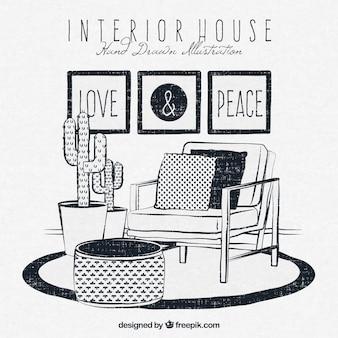 Hand-drawn intérieur de la maison dans le style rétro