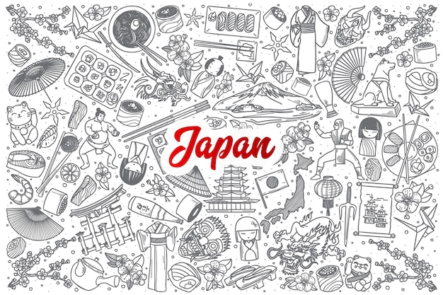 Hand drawn japan doodle set background avec lettrage rouge