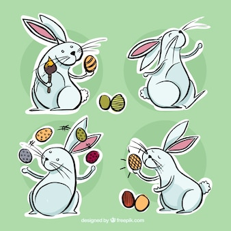 Hand drawn lapins de pâques étiquettes