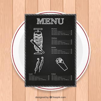 Hand drawn menu arab dans le style tableau noir