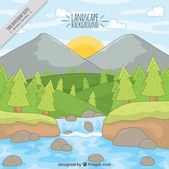 Hand drawn montagneux fond de paysage avec rivière