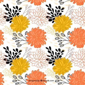 Hand drawn motif de fleurs ornementales